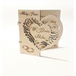 Drewniana kartka EKO W Dniu Ślubu