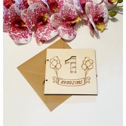 Drewniana kartka EKO 1 urodziny, roczek