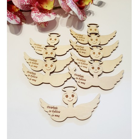 Drewniana baza do aniołków z grawerem, zawieszka, podziękowanie