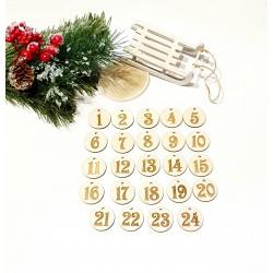 Drewniane numerki do kalendarza adwentowego